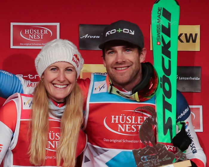 AROSA,SWITZERLAND,17.DEC.17 - FREESTYLE SKIING - FIS World Cup, Ski Cross, men, ladies.  Image shows Fanny Smith (SUI) and Jonas Lenherr (SUI). Keywords: Stoeckli. Photo: GEPA pictures/ Andreas Pranter