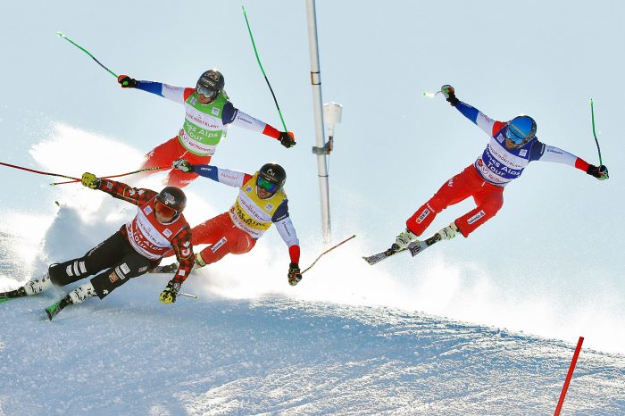 VAL THORENS,FRANCE,07.DEC.17 - FREESTYLE SKIING - FIS World Cup, Ski Cross. Image shows Brady Leman (CAN), Jonas Lenherr (SUI), Joos Berry (SUI) and Marc Bischofberger (SUI). Keywords: Stoeckli Photo: GEPA pictures/ Matthias Hauer